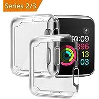 Funda para Apple Watch 38mm Series 2/ Series 3 [2 piezas], PEMOTech Suave TPU Funda [Cobertura Completa] [0.3mm Ultra delgado][HD Claro ][Anti-Arañazos] para Apple Watch Series 2/ Series 3 (38mm)