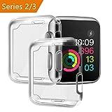[ Aggiornato a 2 pezzi ] Cover Apple Watch, PEMOTech 38mm Custodia Protettiva Trasparente Ultrasottile di Gel In Silicone TPU 0,3 mm Case per Apple Watch Series 2 / Series 3 (38mm)