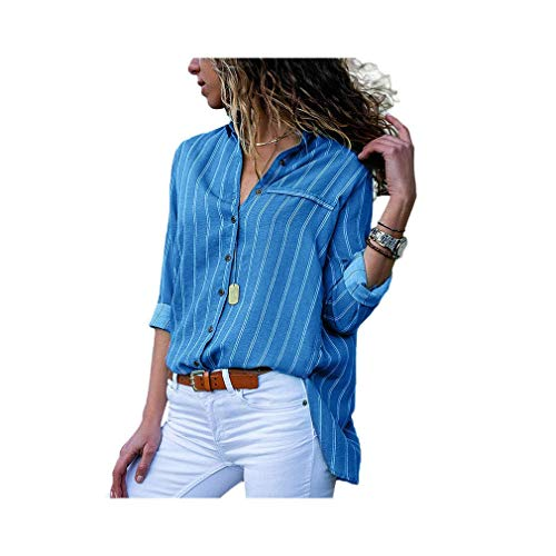 Women Striped Chiffon Long Sleeve Turn Down Collar Office Shirt Casual Loose Tops Blouses -