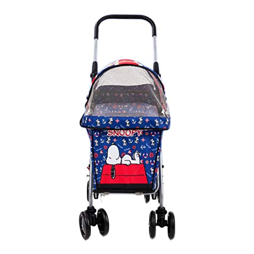 WMS Carrito para Mascotas Cochecitos para Perros O Gatos Carretillas para Viaje De Cuatro Ruedas Plegables Y Fáciles De Cargar Carga De 15 Kg De Animal Roadster (Color : Azul)