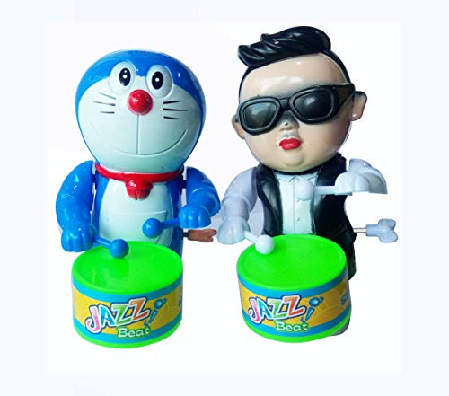 Foreign Holics Cartoon Character Drum Playing with Real Dancing Toy for Kids 6 inches 2 Pcs (Multicolor)