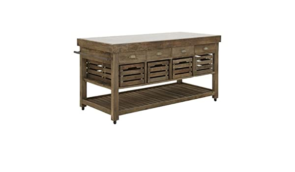 Kücheninsel mit 8 Schüben & 8 Kisten aus Massivholz Ulme alt ...