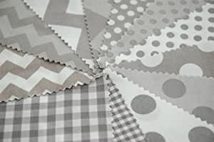 """Riley Blake 24 Piece BASIC GRAY Chevron Spotty Gingham Fabric Blender Fabric Charm Squares Patchwork Quilting Bundle - Grey White - 12.5 x 12.5 cm pieces (5"""" x 5"""") Quilting Pieces"""