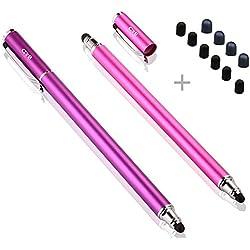 B&D 2 Piezas 2 en 1 Lápices Ópticos/Bolígrafos Digitales/Lápiz Capacitivo con 10 Puntas de Goma de Recambio para Todas Pantallas Táctiles, 5.5-Inch L (Violeta / Rosado)