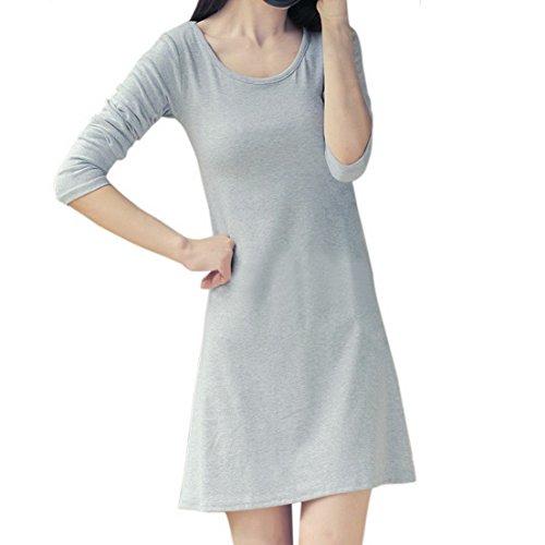 Vertvie Femme Shirt Long Robe en Coton Lâche Automne Manches Longues Haut Trapèze Casual Gris Clair