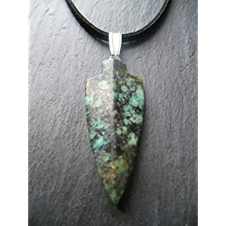 African Turquoise Arrowhead Gemstone Pendant on Adjustable Cord Necklace Chakra Protection Mens Gift