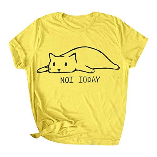 CixNy Damen T Shirts, Kurzarm Bluse Camisole Trägershirts Sommer Einfarbig Baumwolle Brief Drucken Baumwolle Nette lustige Katze Crop Vest Weste Oberteil Tops (Gelb, XX-Large)
