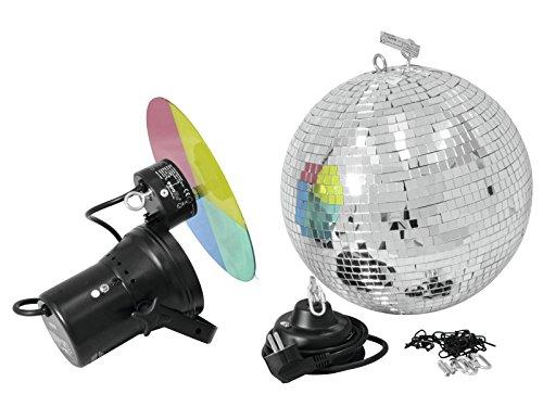 Discokugel-Set NIGHT FEVER mit Pinspot, Farbscheibe und Zubehör, Ø 30 cm, silber - Spiegelkugel Set mit Punktstrahler - Disco Effekt Paket für...