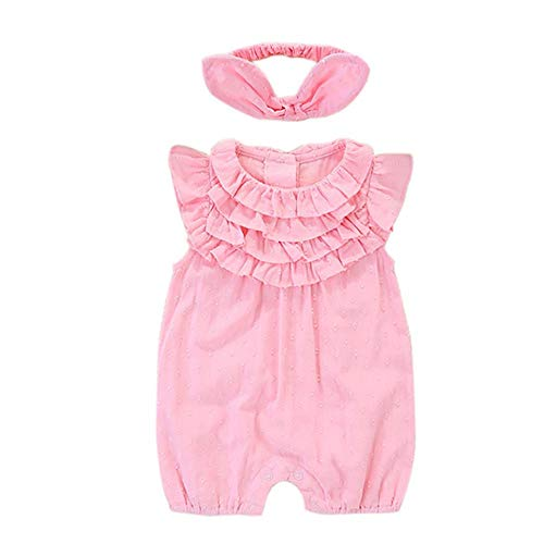 AMOYER Neonata Infantile Tuta Manica Corta Jumpers Abito Papillon Fascia Outfits Vestiti Cofanetti Nascita Pagliaccetto Playsuit Abiti Per 0-3 Mesi