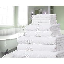 Knightsbridge Juego de 9 toallas 100% algodón egipcio peinado 500g/m2 Blanco (Disponible en varios colores)