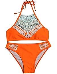 Kairuunn Mujer 2 Piezas Push Up Bikini Sets Sexy Traje de Baño Multicolor Collar Alto Cordón