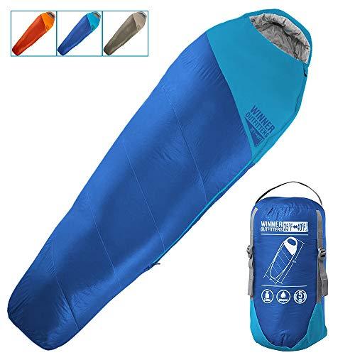 """Saco de dormir para mamá con bolsa de compresión, portátil y ligero, para acampadas de 3 a 4 años, senderismo, viajes, mochilas y actividades al aire libre, 32""""W x 87""""L, Royal Blue/Sky Blue(35F)"""