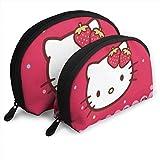 Strawberry Hello Kitty Trousse da viaggio Borse da viaggio Borsa a conchiglia piccola Pochette da toeletta portatile 2Pz