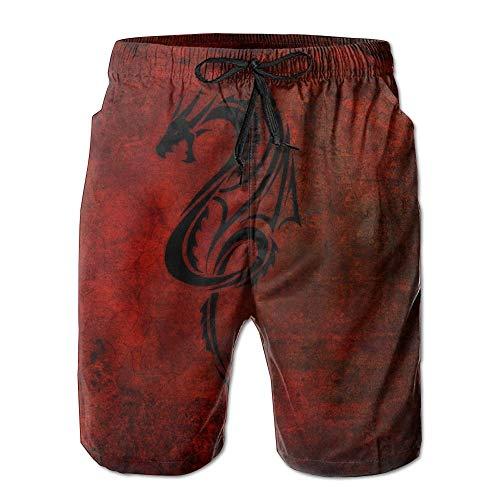 Dragon Red Black Männer/Jungen Casual Shorts Badehose Badebekleidung Elastische Taille Strandhose Mit Taschen,XXL