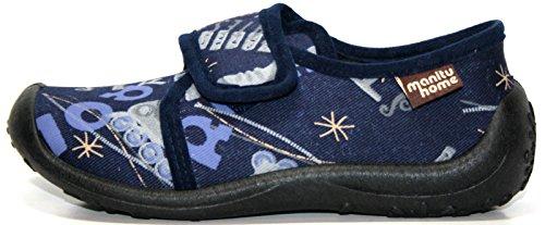 Manitu 230068 Kinder Hausschuhe Blau (marine) Blau (Marine)