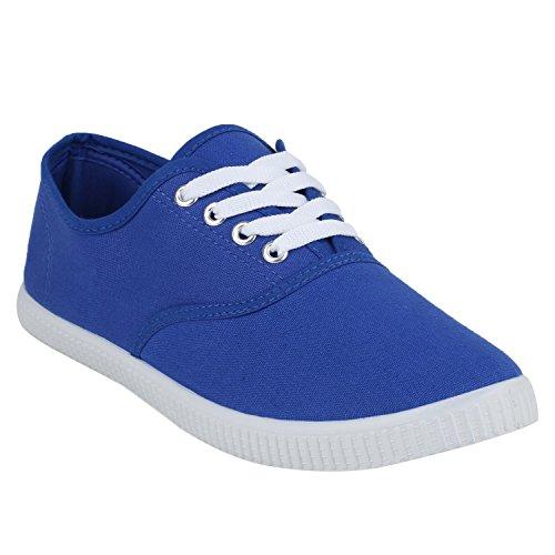 Sportliche Herren Sneakers Low Textil Schuhe Schnürer Freizeit Blau Weiss