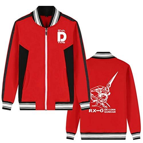 Wjhdeigj Mobile Suit Gundam Anime Bomberjacke College Baseballjacken Cosplay Kostüm Zipper Sweatshirt Mantel Strickjacke (Color : Rot 2, Size : XXL) (Kostüm Gundam)