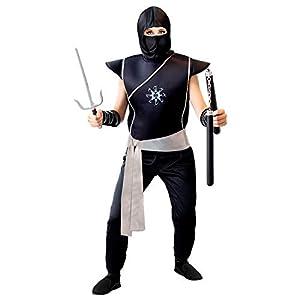 WIDMANN 01708 - Disfraz de ninja para niños (158 cm), color negro