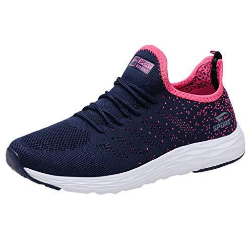 HDUFGJ Damen Sommer Sneaker Weicher Boden Fliegendes Weben Atmungsaktiv Laufschuhe Schnürer Sportschuhe Turnschuhe Halbschuh Fitnessschuhe - Neueste Schuhe Nike Damen