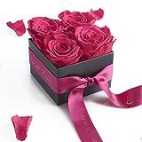 Rosen Box Flowerbox Poesie en Roses 4 konservierte Rosen haltbar 3 Jahre / 8,5x8,5 cm/Blumenbox / Rosenstrauß/Blumengruß verschicken von ROSEMARIE SCHULZ Heidelberg (Pink)