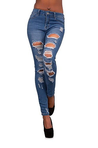 LustyChic - Jeans - Femme Blue Faded Ripped Jeans