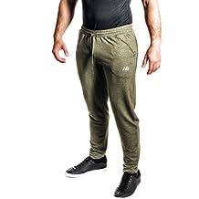 NATURAL ATHLET Jogginghose Herren Freizeithose für Freizeit Fitness Sport mit Beinabschluss bequem meliert Trainingshose Sporthose in Anthrazit und Olive