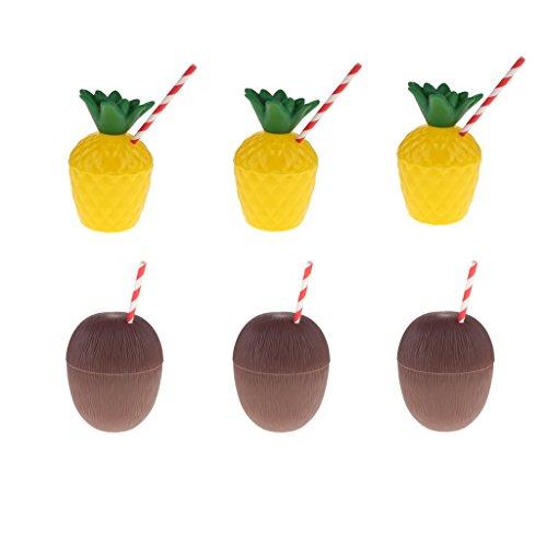 MagiDeal 6pcs Verre à Cocktail Ananas et Noix de Coco Plastique Tasse à Boisson avec Pailles pour Party Luau Tiki Hawaii