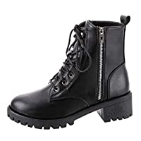 Women Lace up Flat Bottom Short Boot Ankle ❀ Ladies Solid Fashion Zipper Vintage Leather Short Cowboy Motorcycle Boots Shoes