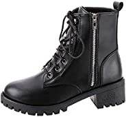 Women Lace up Flat Bottom Short Boot Ankle ❀ Ladies Solid Fashion Zipper Vintage Leather Short Cowboy Motorcyc