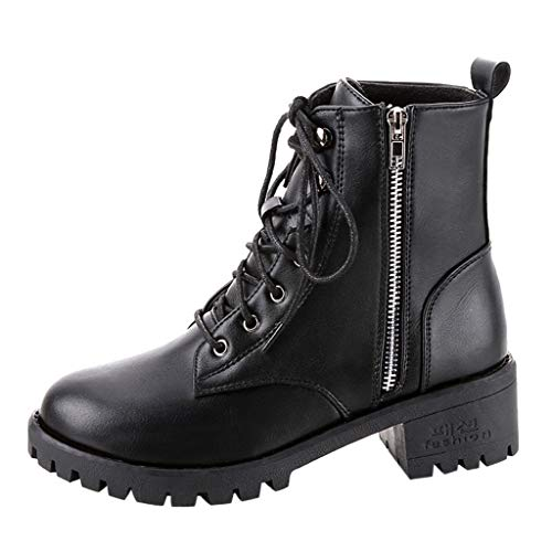 Preisvergleich Produktbild TPulling Leder Blockabsatz Kurzschaft Knöchel Stiefeletten Frauen Herbst Winter High Heels Schnalle Boots Vintage Übergrößen Reißverschluss