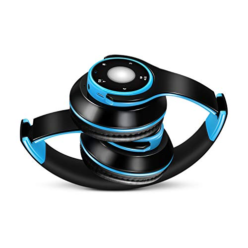 HDJC Kabelloses Headset Stereo-Kopfhörer Mobilcomputer Universelle Subwoofer-Karte mit Funkmikrofon/TF-Karte für Mobile Musik,Blue