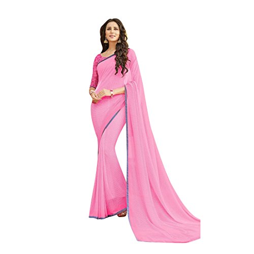 Craftsvilla Womens Georgette Printed Pink saree with blouse piece