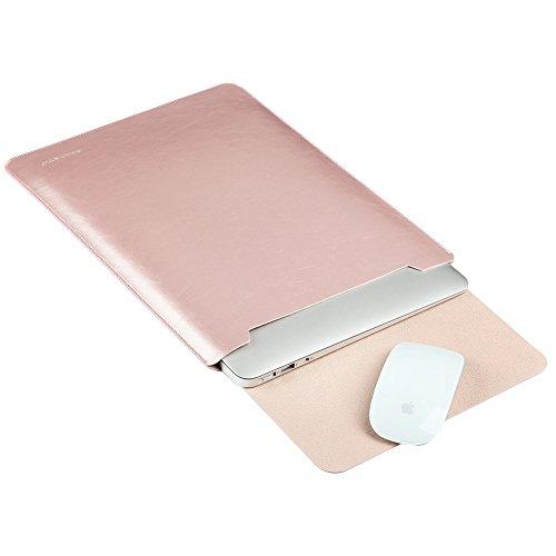 GENORTH® Wasserdicht Mikrofaser PU Leder Laptop Hülle für Macbook Pro 15.4 Zoll, MacBook Schutzhülle, Hülle, Case, Cover, tasche , MacBook Pro Retina 15 Zoll Hülle mit Handgriff, geschütztes Inneres und externes Mousepad(15 Zoll, Rose Gold)