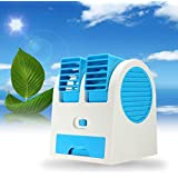 SHOPTOSHOP Mini Fan Usb And Battery Powered Mini Portable Dual Blower Desk Table Air Cooler Fan Portable Dual Bladeless (USB Fan)