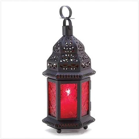 Vidrio rojo de la linterna marroquí