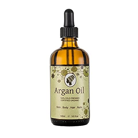 Runakoh Argan Oil 100ml. 100% Pure and Certified Organic. For Face, Body, Hair and Nails. Cold-Pressed, Premium Quality, Moroccan Oil.