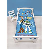 Disney Official Toy Story 4 Junior Toddler Rescue Cot Duvet Cover | Woody, Buzz Lightyear & Friends Design | Children's Kids Bedding Set & Pillowcase, Blue, 120 x 150cm