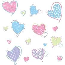 RoomMates RMK1434SCS - Pegatinas para pared, diseño de corazones