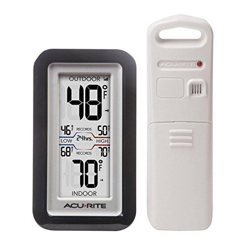 AcuRite 0Digital Thermometer mit Innen-/Außentemperatur schwarz - Acu-rite Wireless Thermometer