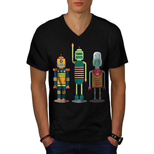 karikatur-roboter-party-kind-spass-herren-neu-schwarz-xxl-t-shirt-wellcoda