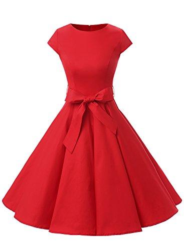 Dressystar DS1956 Robe à 'Audrey Hepburn' Classique Vintage 50's 60's Style à Mancheron Rouge M