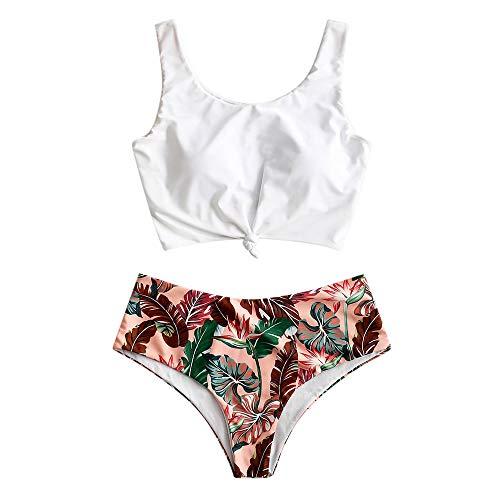 ZAFUL Damen Floral Leaf Lace Up Tropisch Blatt Verknotet Bikini Hoch Tailliert Zwei Stück Tankini Set Badeanzug (S, Rot) -