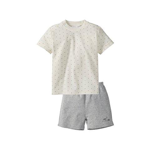 Bornino Basics Schlafanzug Kurz/Schlaf-Set/Stramplerset / 2er Set - Kurzarmshirt und Kurze Hose, Farbe: weiß Grau, Tier-Muster und Druckknöpfe, Baumwolle - Zweiteiliger Schlafanzug für Jungen/Mädchen