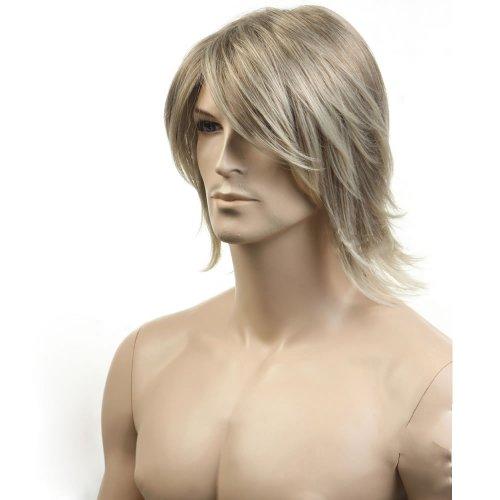 n kühle mittlere Länge Herren Perücken natürliche gerade Seite fegte Fringe Bang Frisur Frisur Männer Perücken (Herren Perücken)