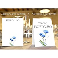 Tableau de mariage matrimonio - tema fiori acquerello set cartolina + cavalletto tavolo