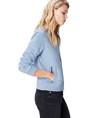 FIND Bomberjacke Damen aus Kunst-Rauleder, mit elastischen Bündchen, Taschen und Reißverschlüssen, Blau (Sky Blue), 38...
