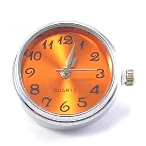 Time4-Charms Chunks Uhr für Armband & Kette Druckknopf Charm Click Button Farbwahl (Zifferblatt orange) - Elemente Silber Charms