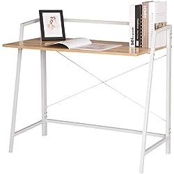 WOLTU TSB55whe Bureau d'ordinateur avec étagère,Table de Bureau Table de Travail en Bois et Acier,Environ 95x50x83cm