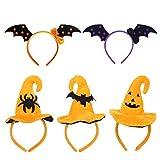 iitrust Decoración de Halloween, 5 Piezas Diadema de Halloween Calabaza Sombrero araña para niños y Adultos para Halloween Decoración del Partido