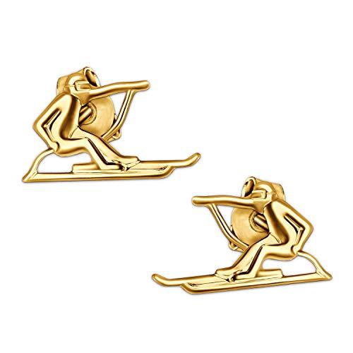 Clever Schmuck Goldenes Paar Ohrstecker Skifahrer 11 x 6 mm glänzend 333 GOLD 8 KARAT für Damen oder Herren -